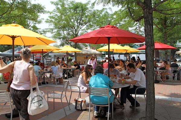 Hinds Plaza Outdoor Dining During Farmers Market in Princeton, NJ