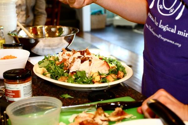 Turkey Breasts over Bread Salad