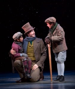 Adikesh s. Nathan, Baylen Thomas, and Adam Le Compte in A Christmas Carol at McCarter Theatre
